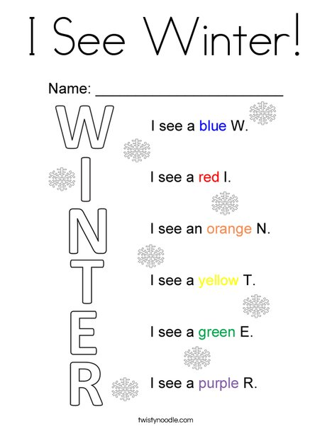 I See Winter! Coloring Page