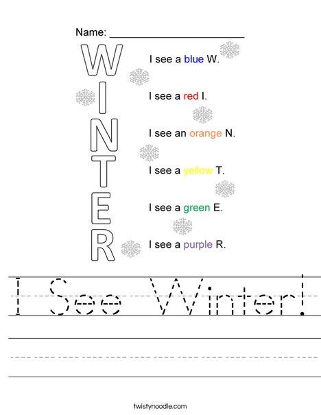 I See Winter! Worksheet