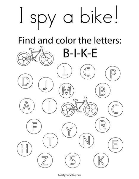 I spy a bike! Coloring Page