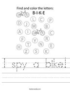I spy a bike Handwriting Sheet