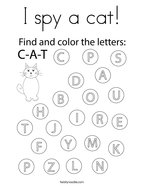 I spy a cat Coloring Page
