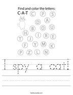 I spy a cat Handwriting Sheet