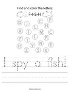 I spy a fish Handwriting Sheet