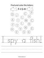 I spy a fish Handwriting Sheet