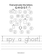 I spy a ghost Handwriting Sheet