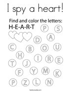 I spy a heart Coloring Page