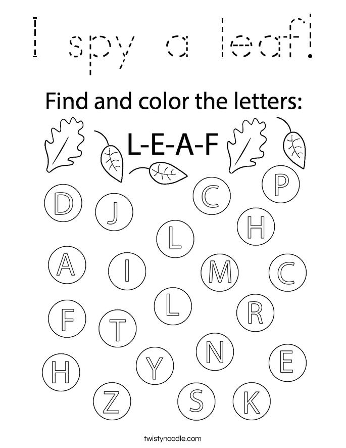 I spy a leaf! Coloring Page