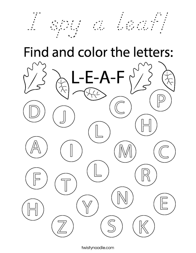I spy a leaf! Coloring Page