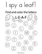 I spy a leaf Coloring Page