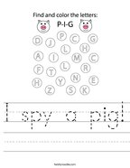 I spy a pig Handwriting Sheet