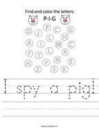 I spy a pig Handwriting Sheet