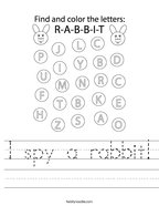 I spy a rabbit Handwriting Sheet