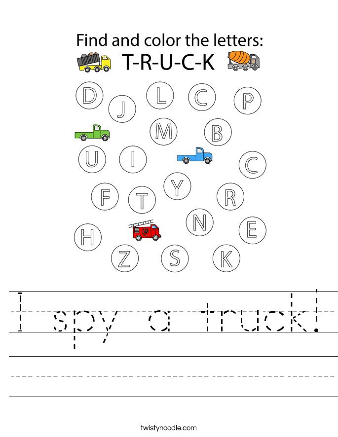 I spy a truck! Worksheet