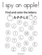 I spy an apple Coloring Page