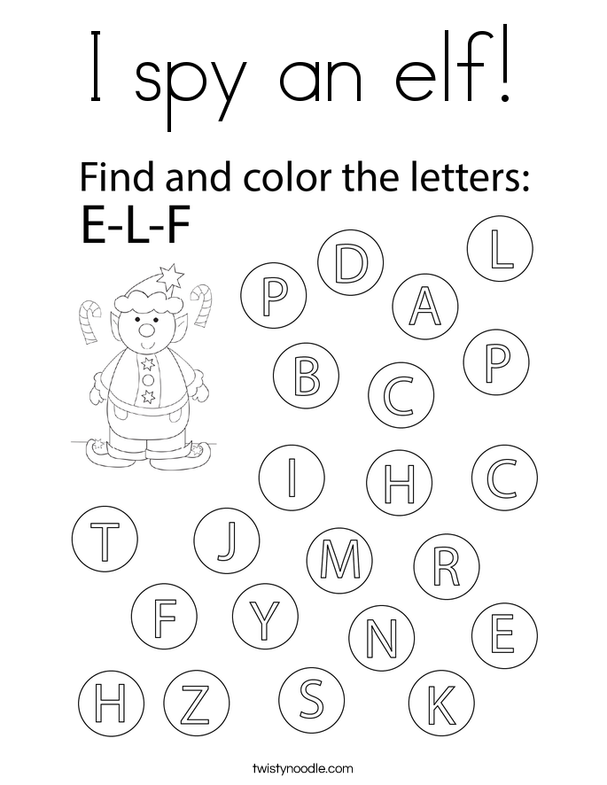 I spy an elf! Coloring Page