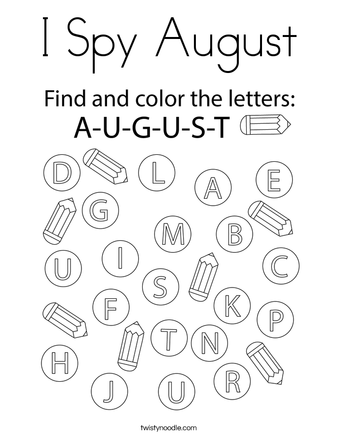 I Spy August Coloring Page