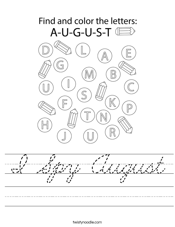 I Spy August Worksheet