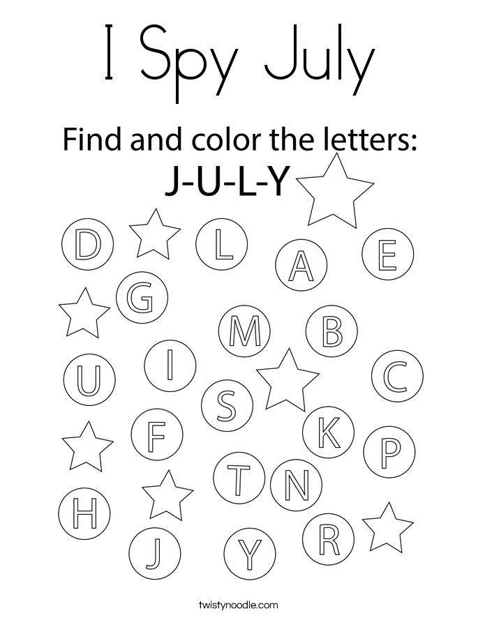 I Spy July Coloring Page