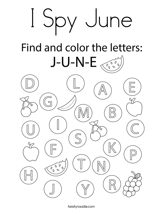I Spy June Coloring Page