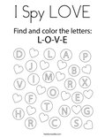 I Spy LOVE Coloring Page