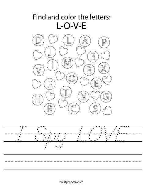 I Spy LOVE Worksheet