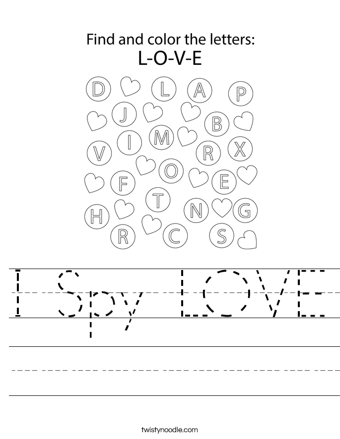 I Spy LOVE Worksheet