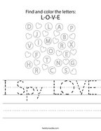 I Spy LOVE Handwriting Sheet