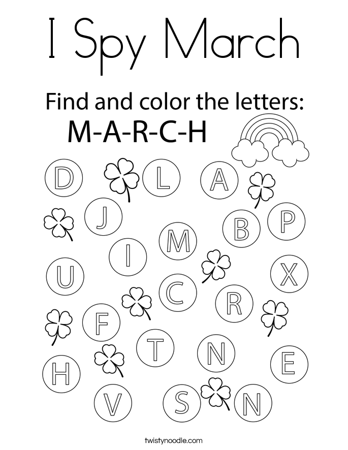 I Spy March Coloring Page