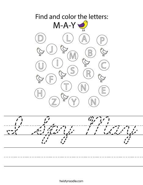 I Spy May Worksheet