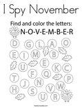 I Spy November Coloring Page