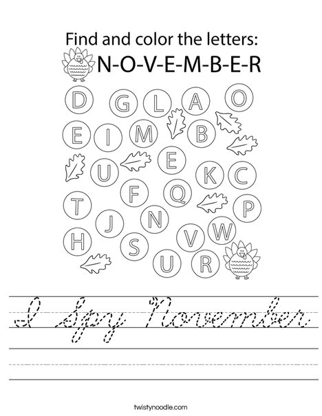 I Spy November Worksheet