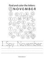 I Spy November Handwriting Sheet