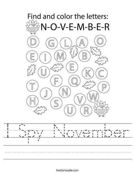 I Spy November Worksheet