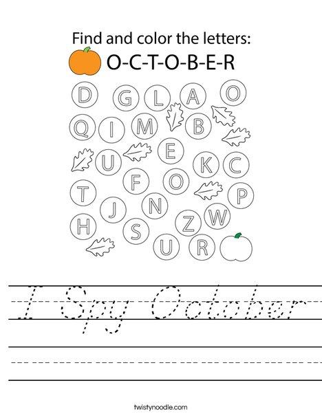 I Spy October Worksheet - D'Nealian - Twisty Noodle