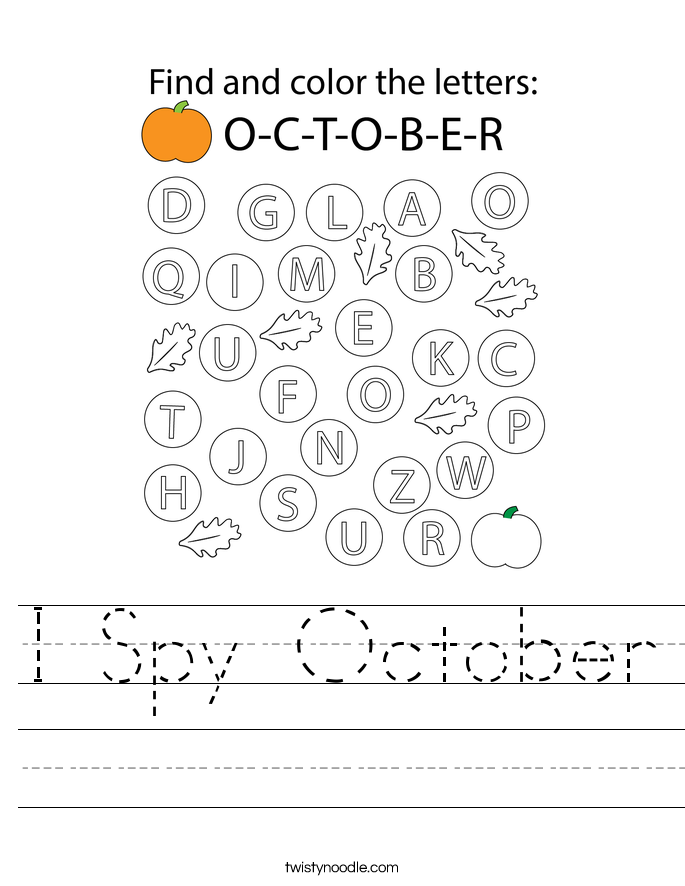 I Spy October Worksheet