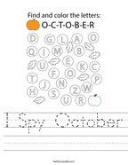 I Spy October Handwriting Sheet