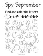 I Spy September Coloring Page