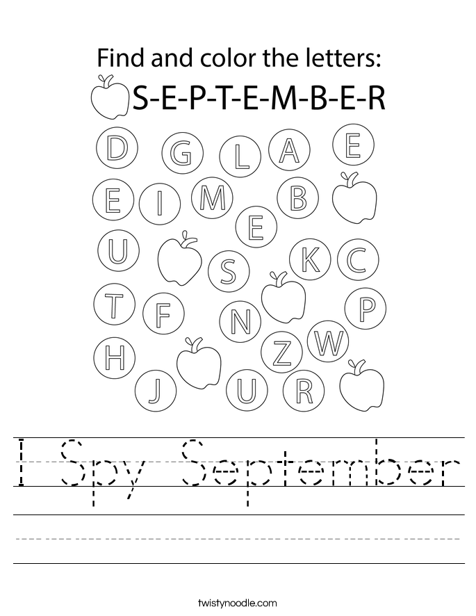 I Spy September Worksheet