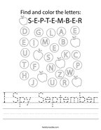 I Spy September Handwriting Sheet