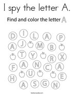 I spy the letter A Coloring Page