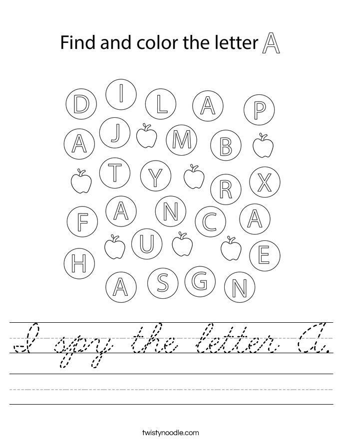 I spy the letter A. Worksheet