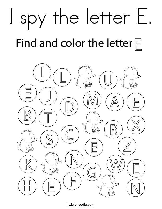 I spy the letter E. Coloring Page