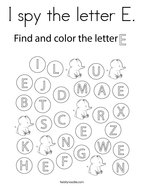 I spy the letter E Coloring Page