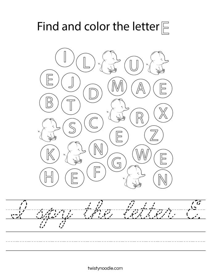 I spy the letter E. Worksheet