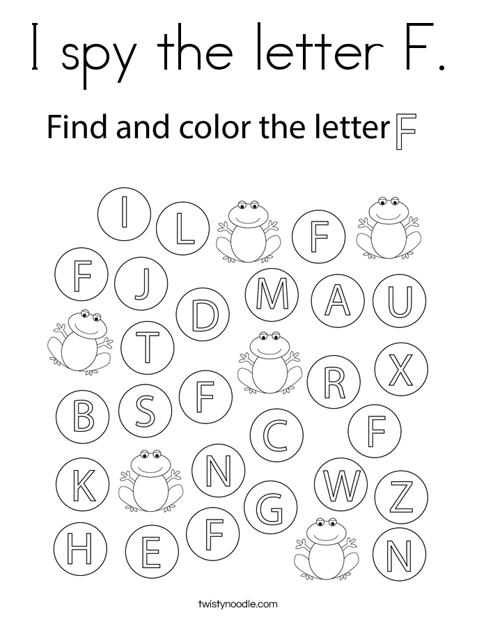 I spy the letter F. Coloring Page