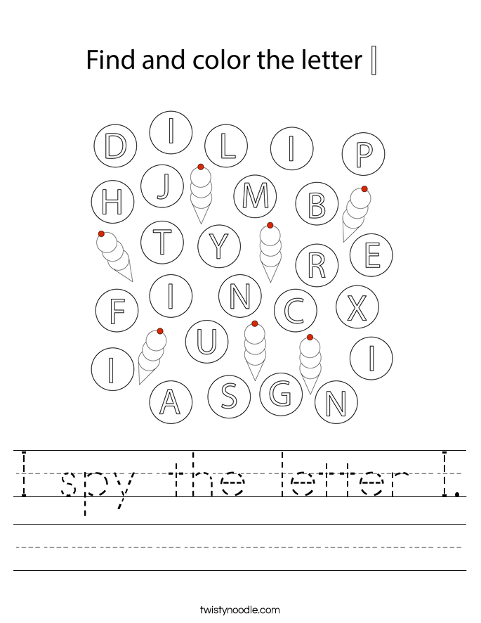 I spy the letter I. Worksheet