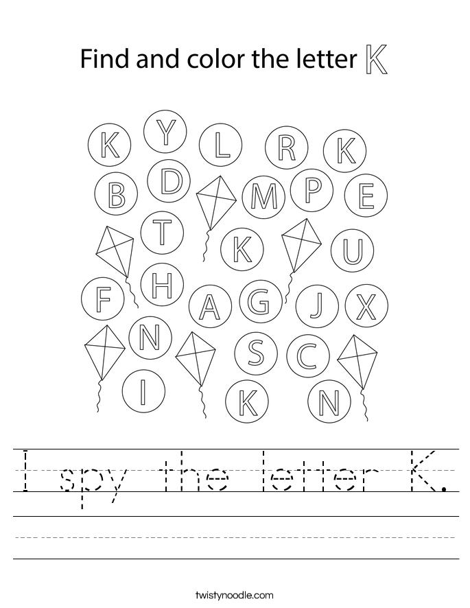 I spy the letter K. Worksheet