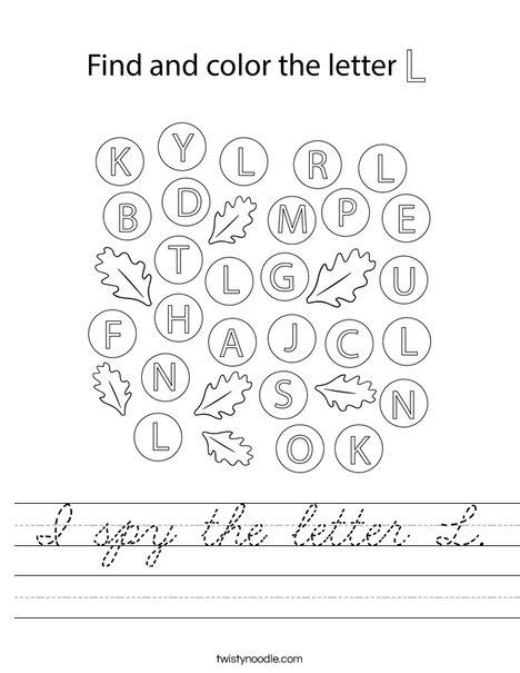 I spy the letter L. Worksheet
