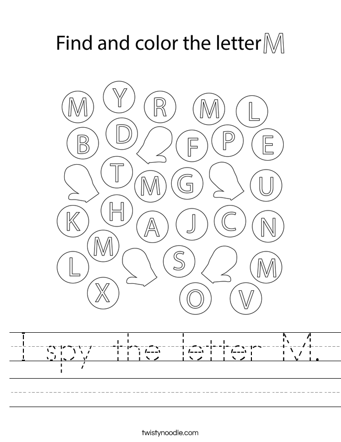 I spy the letter M. Worksheet