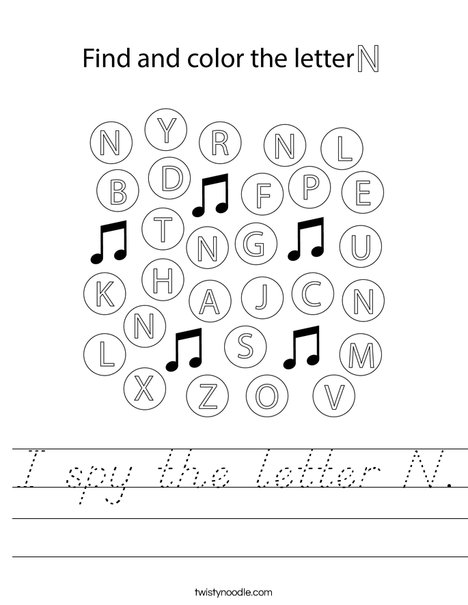 I spy the letter N. Worksheet